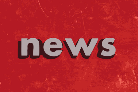news letter: news vector word on red concrete wall
