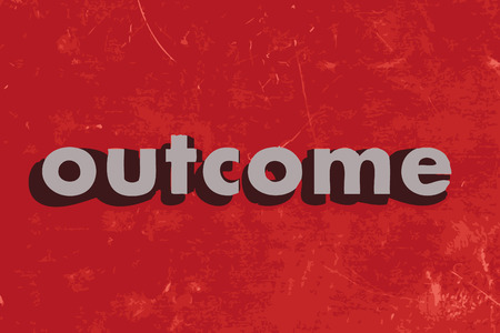 outcome: outcome vector word on red concrete wall