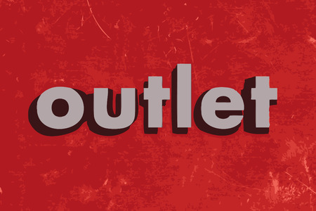 outlet: outlet vector word on red concrete wall