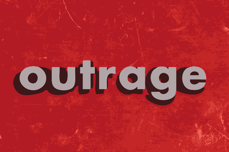 outrage: outrage vector word on red concrete wall Illustration