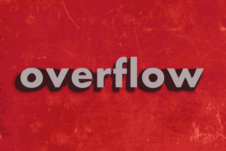 overflow: overflow vector word on red concrete wall