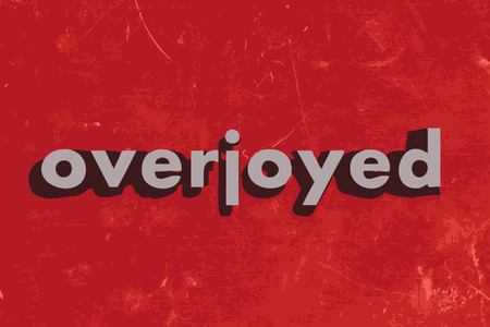 overjoyed: overjoyed vector word on red concrete wall Illustration
