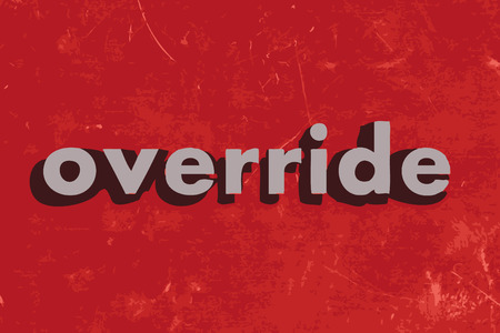 override: override vector word on red concrete wall