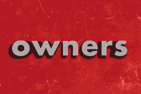 owners: owners vector word on red concrete wall