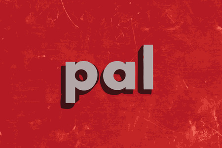 pal: pal vector word on red concrete wall Illustration