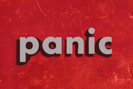 panic: panic vector word on red concrete wall