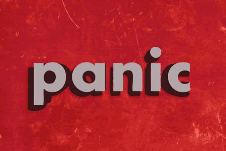 paniek: paniek vector woord over de rode betonnen muur