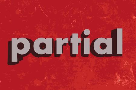partial: palabra vector parcial en la pared roja de hormig�n
