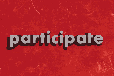 participate: participate vector word on red concrete wall Illustration
