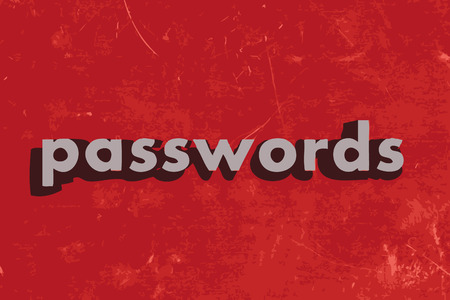 passwords: passwords vector word on red concrete wall
