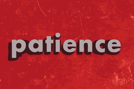 patience: patience vector word on red concrete wall