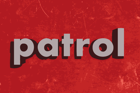 patrol: patrol vector word on red concrete wall