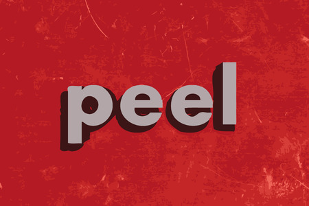 peel vector word on red concrete wall