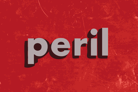 peril: peril vector word on red concrete wall Illustration
