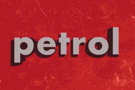 petrol: petrol vector word on red concrete wall Illustration