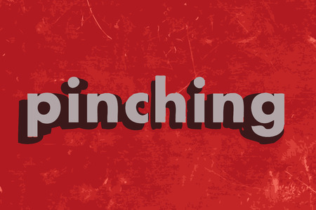 pinching: pinching vector word on red concrete wall