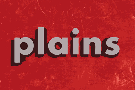 plains: plains vector word on red concrete wall