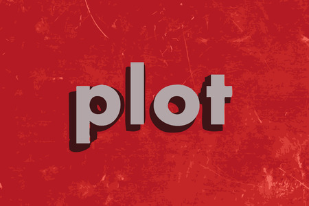 plot: plot vector word on red concrete wall