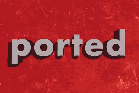 ported: palabra vector portado en rojo muro de hormig�n Vectores