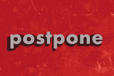 postpone: postpone vector word on red concrete wall Illustration