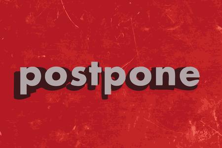 postpone: postpone vector word on red concrete wall Illustration