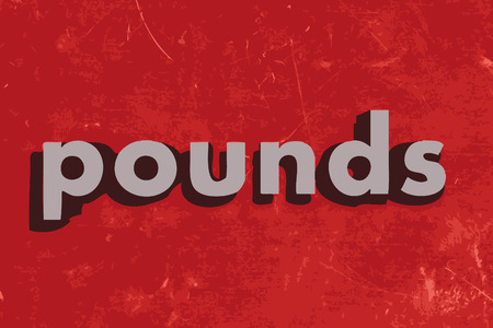 pounds: pounds vector word on red concrete wall
