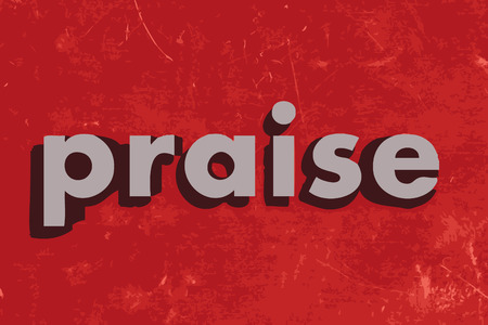 praise: praise vector word on red concrete wall Illustration
