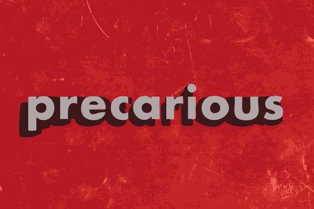 precarious: precarious vector word on red concrete wall