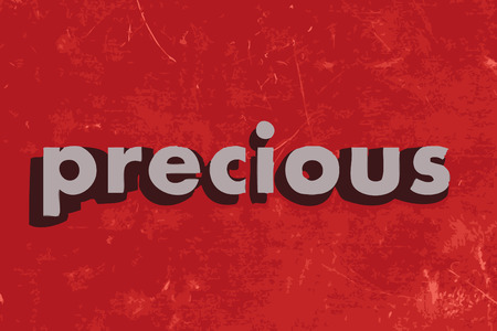 a precious: precious vector word on red concrete wall Illustration