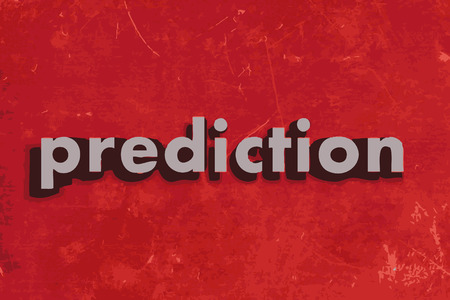 prediction vector word on red concrete wall Illustration