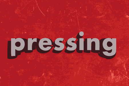 pressing: pressing vector word on red concrete wall