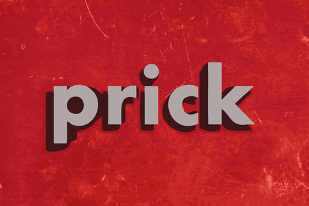 prick: prick vector word on red concrete wall Illustration