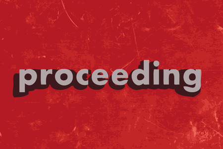 proceeding: proceeding vector word on red concrete wall Illustration