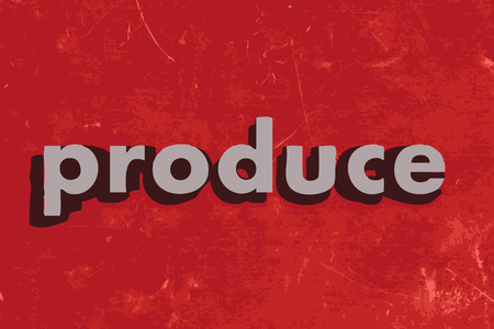 produce vector word on red concrete wall