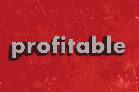 profitable: profitable vector word on red concrete wall