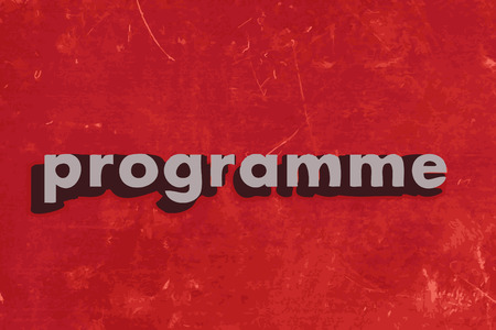 programme: programme vector word on red concrete wall Illustration