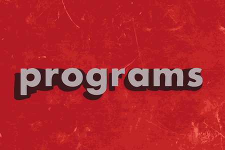 programs: programs vector word on red concrete wall