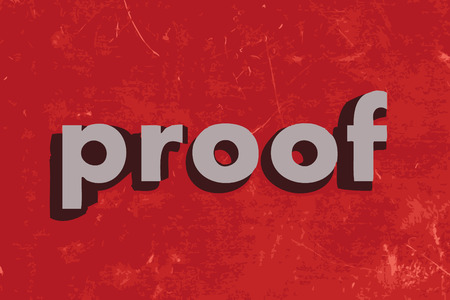 proof: proof vector word on red concrete wall Illustration