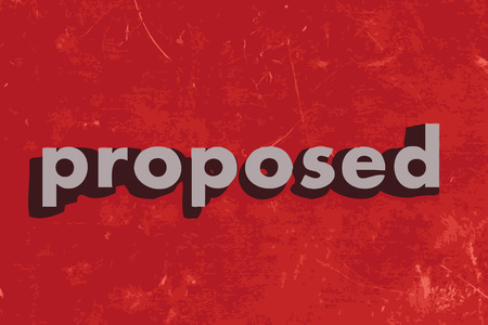 proposed: proposed vector word on red concrete wall Illustration