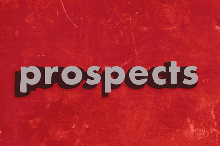 prospects: prospects vector word on red concrete wall