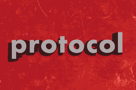 protocol vector word on red concrete wall
