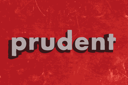 prudent vector word on red concrete wall