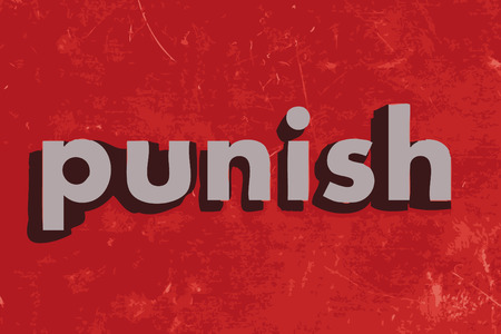 punish: punish vector word on red concrete wall