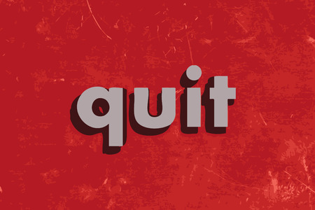 quit: quit vector word on red concrete wall