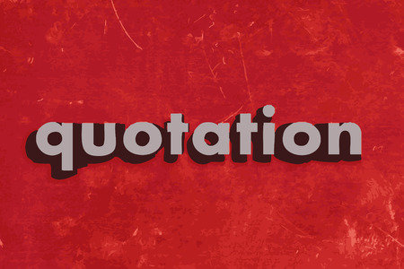 quotation: quotation vector word on red concrete wall