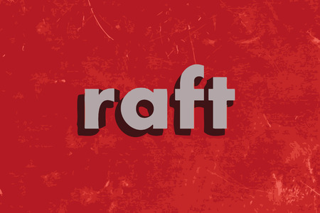 raft: raft vector word on red concrete wall Illustration