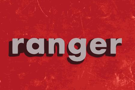 ranger: ranger vettore parola sul muro di cemento rosso Vettoriali