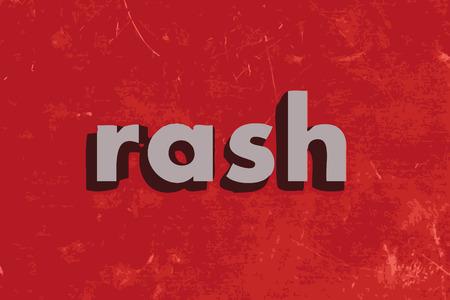 rash: rash vector word on red concrete wall