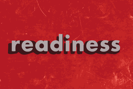 readiness vector word on red concrete wall Illustration