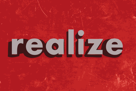 realize: realize vector word on red concrete wall Illustration